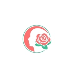 Flower logo design template Woman face vector image