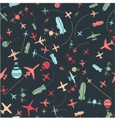 seamless pattern Airplanes sky set vector image
