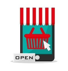 Basket and shopping online design vector