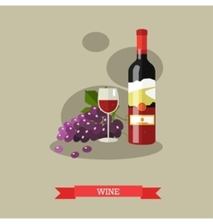 Red wine bottle and glass with grapes flat design vector