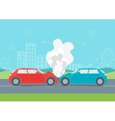 Cartoon Car Crash or Accident vector image