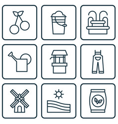 Set of 9 holticulture icons includes bailer vector