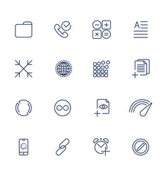 Set with 16 icons for mobile app sites mobile vector
