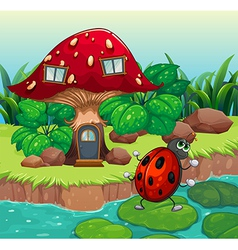 A bug dancing near the mushroom house vector