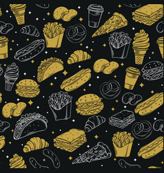 Fast food seamless pattern with vector