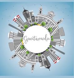 Guatemala skyline with gray buildings blue sky vector