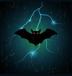 Halloween bat fly and thunderbolt vector
