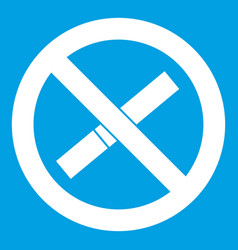 Sign prohibiting smoking icon white vector