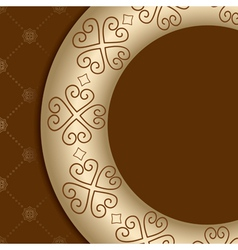 Brown background with ornament on gold gradient vector