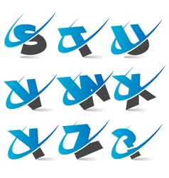 Swoosh alphabet set 3 vector