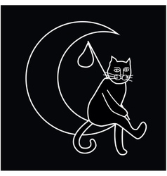 A cat sitting on the moon vector