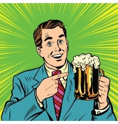 Retro man with a beer pop art vector image