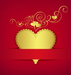 Gold heart classic valentine day greeting card vector