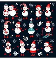 A cute snowmen collection vector image vector image