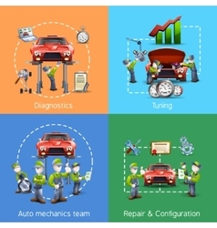 Auto mechanic 4 icons square banner vector