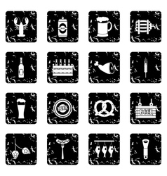 Beer set icons grunge style vector image
