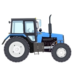 Blue new tractor agricultural machinery wheeled vector