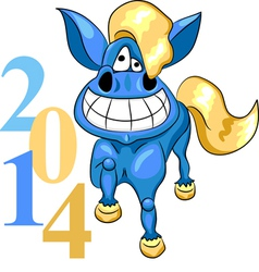 Cartoon blue horse vector