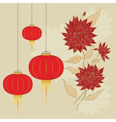 Chinese lantern with flowers5 vector
