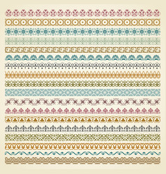 Colorful decorative borders in vintage style vector