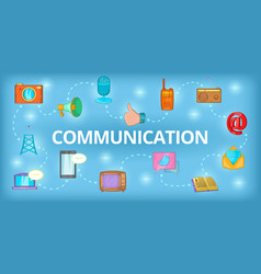 Communication banner horizontal cartoon style vector