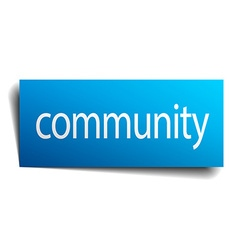Community blue square isolated paper sign on white vector