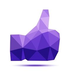Dark violet geometric triangular polygonal thumb vector