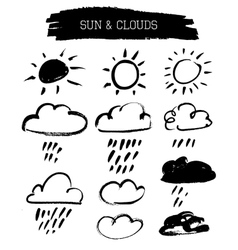 Doodle grunge sun and clouds vector
