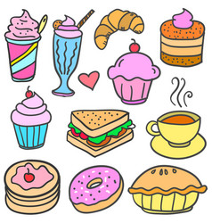 Doodle of food various collection vector