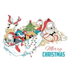 Doodle of merry christmas holiday with santa claus vector