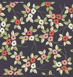 Elegant stylised seamless poppy flower pattern vector