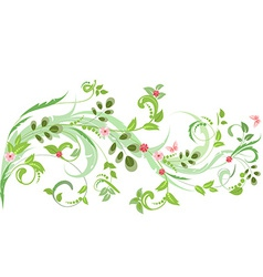 floral ornament with butterflies for your design vector image