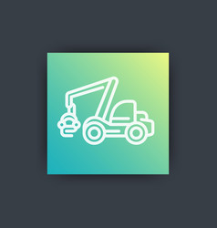Forest harvester icon timber harvesting machine vector