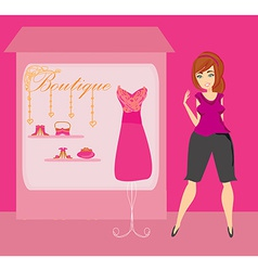 Full lady chooses dresses vector image vector image