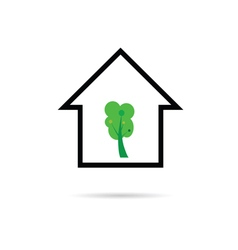 house with tree green vector image vector image