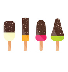 ice cream sweet food set vector image