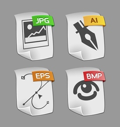 Icons of files Collection vector image vector image