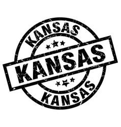 Kansas black round grunge stamp vector