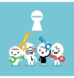 key to success business strategy concept cartoon vector image vector image