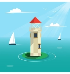 Lighthouse cartoon colorful vector image vector image