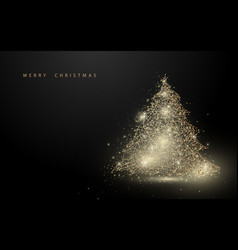 Low polygon gold christmas tree wireframe mesh vector