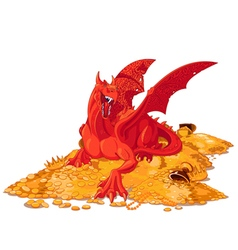 Magic dragon on the pile of gold vector