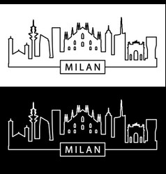 milan skyline linear style editable file vector image