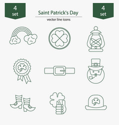 set of saint patrick s day icons vector image