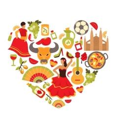 Spain heart print vector