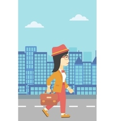 Successful business woman walking with briefcase vector