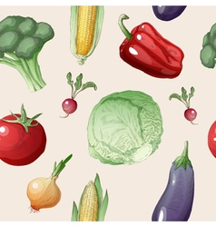 Vegetables seamless pattern in vintage style vector