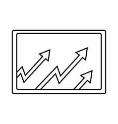 Monitor with charts icon outline style vector