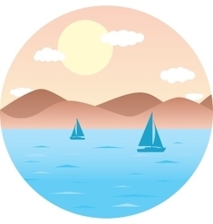 Sailboats floating in the sea mountain beach sun vector