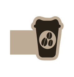 Dark contour coffee espresso icon vector